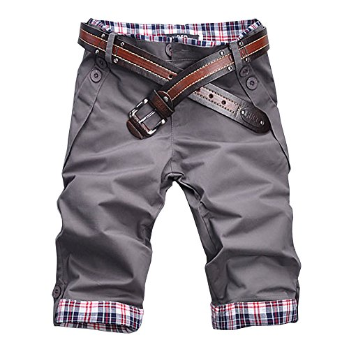 ROBO Short Homme Slim Fit Casual Bermuda Chino Pantalon Court Carreaux sans Ceintu