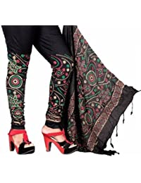 D'zires Women's Cotton Lycra Bandhni Style Printed Leggings & Dupatta Set _D22_Black_Perfect For L And XL