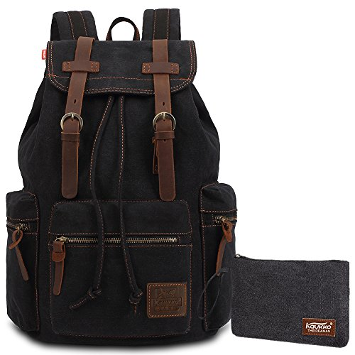 Imagen de kaukko  elegante en tela  college school unisex bolsa de hombro excursionismo y viajes negro01