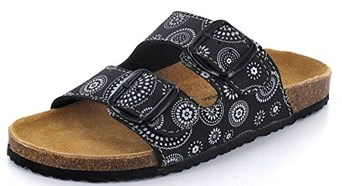 Q-Schuh 1003542/0, Zoccoli donna nero nero/bianco Nero/Bianco