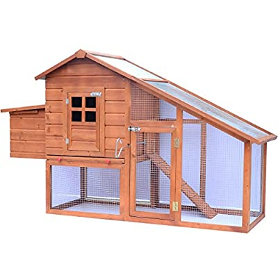 Pawhut Chicken Hen Poultry Coop House Rabbit Hutch Ark Coup Run Nest Box 3-10 Birds W190xD66xH116cm from Manufacturered for Mhstar