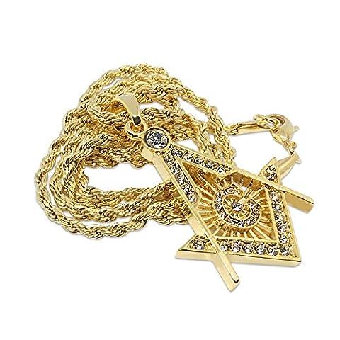 Premium 14K vergoldet Freimaurerei Logo mit Kristalle Micro Hip Hop Bling Anhänger Kette Halskette