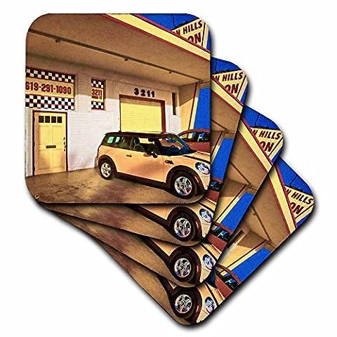 3dRose cst_55967_2 Yellow Garage Mini Cooper Soft Coaster (Set of