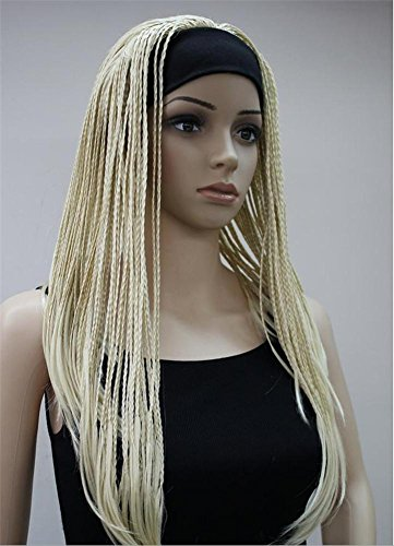 HAPPYMOOD Lange Blond & Braun Twist Zöpfe Perücke- Volle Dreadlocks Rocker' Weihnachten Halloween Karneval Cosplay mit freier Kappe , - Make-up Leicht Scary Halloween