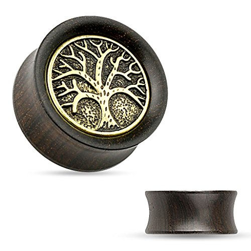 Holz Plug Flesh Tunnel Lebensbaum Wood Ear Plug Saddle Fit Organic Tree of Life Vintage Ethno braun 14 mm