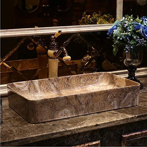 LLLYZZ marmor rechteckige Form Europa Vintage Style Art waschbecken Keramik Arbeitsplatte Waschbecken Badezimmer Waschbecken (Waschbecken-arbeitsplatte Badezimmer)