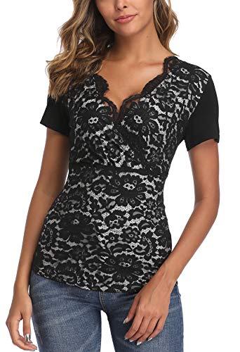 MISS MOLY Damen Sommer Oberteile Sexy Spitzen Shirt Tiefer V-Ausschnitt Bluse Schwarz X-Large