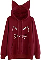 Outtop(TM) Women's Cat Ear Solid Hoodie Sweatshirt Hooded Pullover Top Blouse