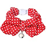 Segolike Cotton Adjustable Buckle Neck Strap With Bowknot Collar For Puppy Cat Kitten - Red Dot