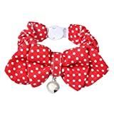 Segolike Pet Collar Puppy Cat Kitten Safety Collar Adjustable Buckle Neck Strap with Bowknot Decor Cotton - red dot