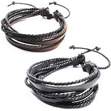 Jirong Jirong 2-Pack Cuir Noir et Marron Bracelets - bracelet réglable - grande pour les hommes, femmes, ados, garçons, filles SL1