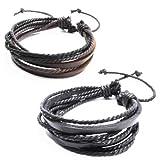 Jirong 2-Pack Leder Black & Brown Armbänder - Einstellbare Armband - ideal für Männer, Frauen, Teens, Jungen, Mädchen SL1