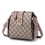 WOAIRAN Frauen Umhängetasche Weibliche Vintage Ziffern Druck Handtasche Kleine Quadratische Tasche Damen Freizeit Umhängetasche Mode Umhängetasche Rosa