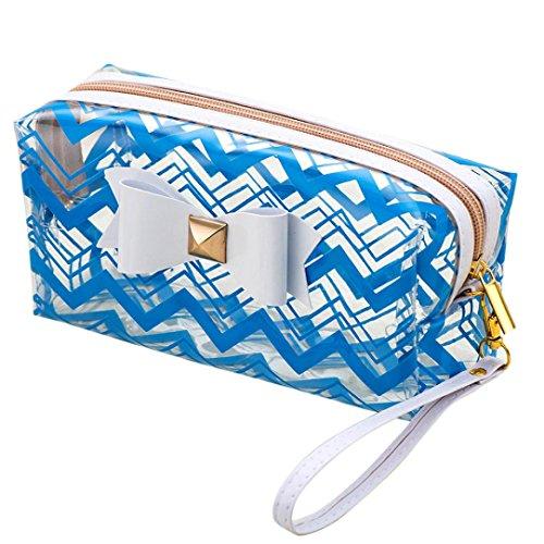 Trousse cosmétique, Cinnamou PVC imperméable à rayures Nœud haute capacité de stockage Paquet Sac Cosmétique
