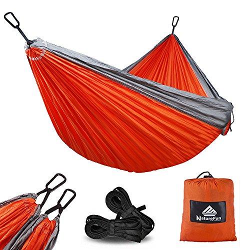 NatureFun Amaca da Campeggio da Viaggio Ultraleggera | Capacità di Carico 300kg,(275 x140 cm) Traspirante, Nylon da Paracadute ad Asciugatura Rapida | 2 x Moschettoni Premium,2 x Corde in Nylon Incluse