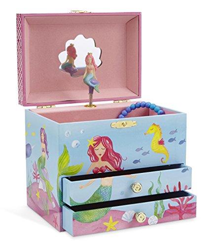 (JewelKeeper - Meerjungfrau Spieluhr Schmuckschatulle, Unterwasser Design mit Zwei Ausziehfächern - Sobre las Olas Melodie)