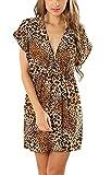 Bao Core Damen Sommerkleid StrandKleid ärmellos lose Neckholder Chiffon Rock Frauen Minikleid Partykleid elegant Zebra/Violett Leopard/Kaffee Leopard/Farbbalken