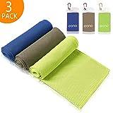 Eono by Amazon - Kühlendes Handtuch 3 Pcs 100x30cm Golftuch Cooling Towel Mikrofaser Handtuch Sporthandtuch für Yoga Reise Climb Fußball Tennis & Outdoor Sports Golf Towel