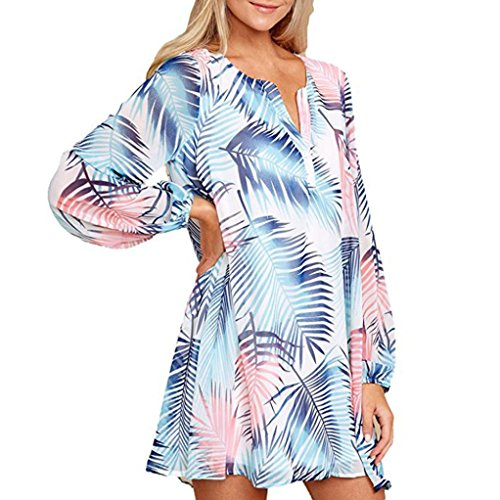ESAILQ Damen Frauen Casual Kurzarm Stretch Falten Tunika Bluse Sommer Obteile mit Knöpfen V-Ausschnitt Ladies Shirt mit Gummizug Am Saum(XL,Blau)