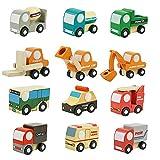 Goolsky 12 Stück Holz Auto 1 Spielzeug Mini Auto Modell Fahrzeug Set Classic Bau Team Pädagogische Spielzeug für Kinder