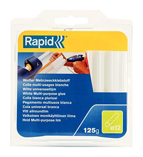 Rapid, 40107355, Bâtons de colle thermofusible, Polyvalent, Blanche, ø12mm, Longueur 94mm, 125g