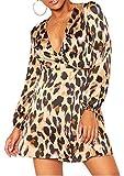 Re Tech UK Mujer Brillo Lúrex Estampado Leopardo Envoltura Plástica Vestido Skater Manga...