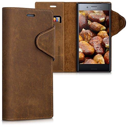 kalibri-Hlle-fr-Sony-Xperia-XZ-Premium-Echtleder-Wallet-Case-Schutzhlle-mit-Fach-und-Stnder-in-Braun