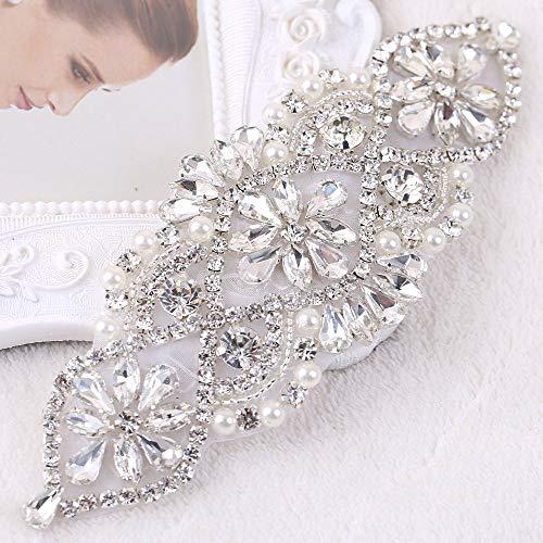 Seba5 Home Strass Braut Hochzeit Strumpfbänder Kopfbedeckungen Applique Patch mit Kristallen Perlen Jeweled Pailletten Diamant Verzierungen für Brautjungfer Kleid Kleid Schärpe Gürtel -