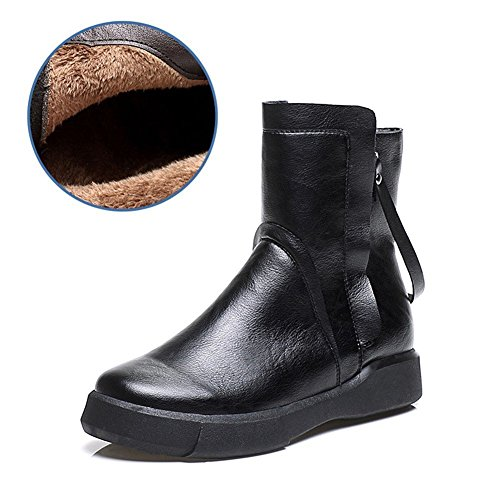 HOMEE Casual Women 'S Schuhe Retro Flat Bottom Reißverschluss Warm Heel Short Boots,37 Eu,Schwarz (Flats Womens Boot Boots)