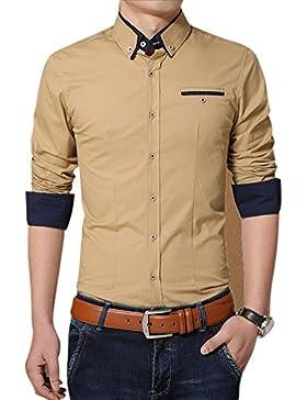 Uomo Camicia Slim Fit con Maniche Lunghe anti piega affari Camicie Cachi M