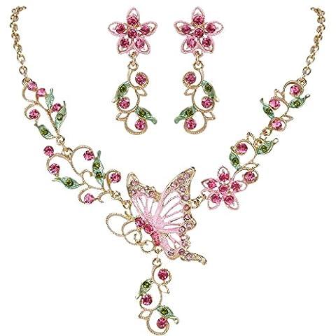Clearine Femme Boême Elégant Délicat Cristal Papillon Fleur Jardin Statement Collier Pendant d