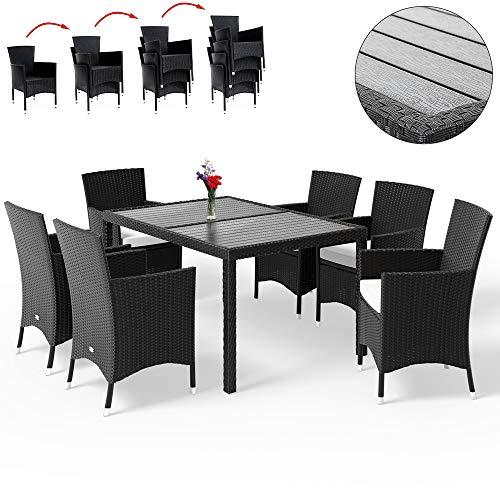 Deuba Poly Rattan Sitzgruppe WPC Tisch & 6 Stapelbare Stühle 7cm Dicke Auflagen Schwarz Gartenmöbel Sitzgarnitur Set