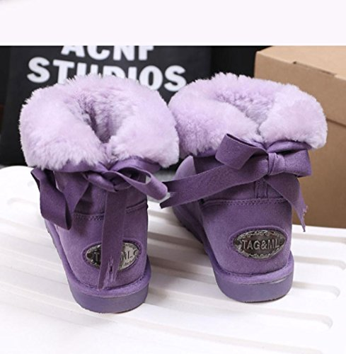 Heart&M Spessore caldo inverno nuovo stile pelle lana comfort cotone carino bow tubo femmina neve stivali b