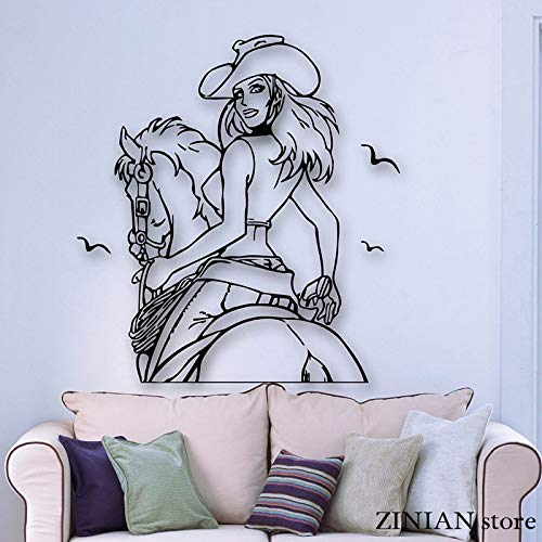 Hot   Girl Etiqueta de La Pared Cowboy Horse Texas Cowgirl Western Wall Decals Extraíble Arte Mural Decoración Del Hogar Dormitorio Decoración  56x60 cm