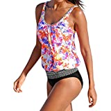 Dorical Damen Tankini Bikini Bademode Badeanzug Slip Set Große Größen bademode Frauen Plus Size,Ladies Bikini-Sets Tankini Oversize Blume Push up(Rot,XXX-Large)