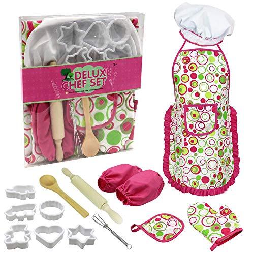 PER Kinder Backset Kinder Kuchen Lebensmittel Backschürze Küchenutensilien Set Echte Backzubehör Küchenchef Kostüm für 3 Jahre und älter (Kinder Lebensmittel Kostüm)