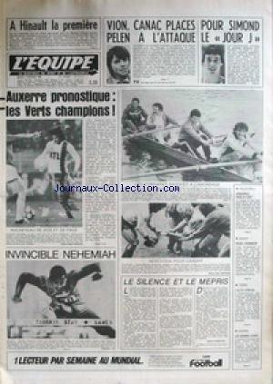 EQUIPE (L') [No 11111] du 02/02/1982 - HINAULT - VION - CANAC PLACES PELEN A L'ATTAQUE - POUR SIMOND LE JOUR J - AUXERRE - LES VERTS CHAMPIONS - LES CORSAIRES BASQUES A L'ABORDAGE - NEHEMIAH - VOLLEY - BASKET - TENNIS. par Collectif