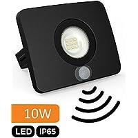 SuperSlim LED Foco exterior IP65con detector de movimiento–10W 700lm 230V–36mm Plano–Blanco Cálido (3000K)