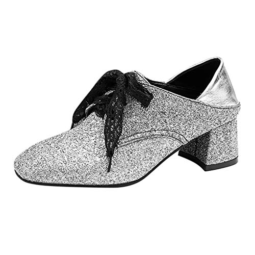 Xiangdanful Damen Klassischer Pumps Blockabsatz Schuhe Trichterabsatz Einzelne Schuhe Mary Jane Halbschuhe Spitze Toe Slip On Arbeits Freizeitschuhe Glitzer Pailletten Tanzschuhe (35.5 EU, Silber)