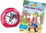 Atlanta Kinderwecker Ohne Ticken Mädchen Pferde mit Lernbuch Conni Buch Alles über Ponys - 1984-1 BU