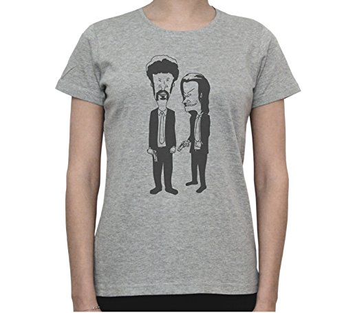 Beavis And Butthead Pulp Fiction Characters Funny Graphic Women's T-Shirt Gris