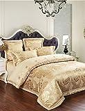Textiles/Home ZQ Flash Sale Bettwäsche Gold Blumen Bettwäsche warm und weich Tagesdecke Geschenke Tribute Seide Tröster 4Queen King, Gold, Queen