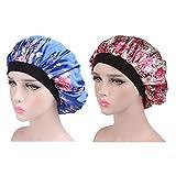 Femmes Chemo Hat Bande élastique Impression Cap Satin Slouchy Turban Beanie Cap pour la Perte de Cheveux, Sommeil, Protection des Cheveux 2 pièces