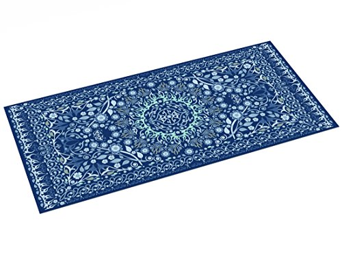 Printodecor - Alfombra Vinílica Impresa, Multicolor (Geométrico Clásico Azul), 97 x 48 cm