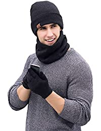 1bc82282e0518 QS Go 3PCS Sombrero Babero Guantes de Tres Piezas Sombreros de Hombre Gorros  de Lana Gorros Invierno
