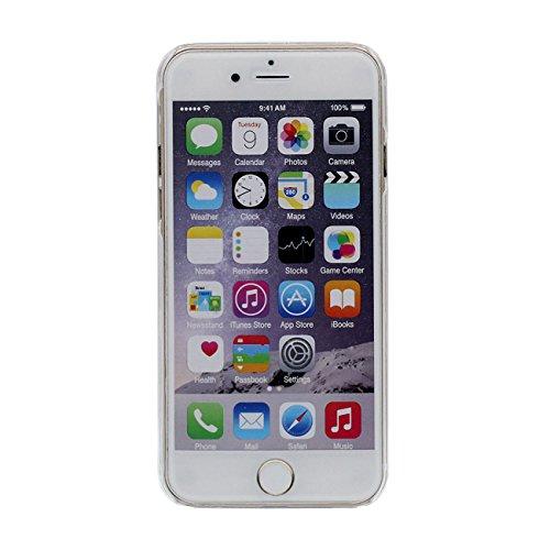 iPhone 6S Coque Étui de Protection pour Apple iPhone 6 6S 4.7 inch Sable Noir Étoiles Couler Dur Transparente Eau Liquide Pissenlit Amoureux Modèle iPhone 6 Case avec 1 Silicone Titulaire color-8