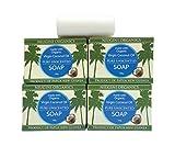 4 x Jabón de aceite de coco virgen puro orgánico del MUNDO para todo tipo de piel, barra de 100 gramos, sin aroma.