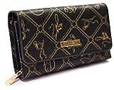 ♥ Schwarze Damen Geldbörse von Giulia Pieralli XXL mit Druckknopf Damengeldbörse Geldbeutel Frauen Portemonnaie Portmonee sehr hochwertig und in Einer Geschenkbox verpackt G001