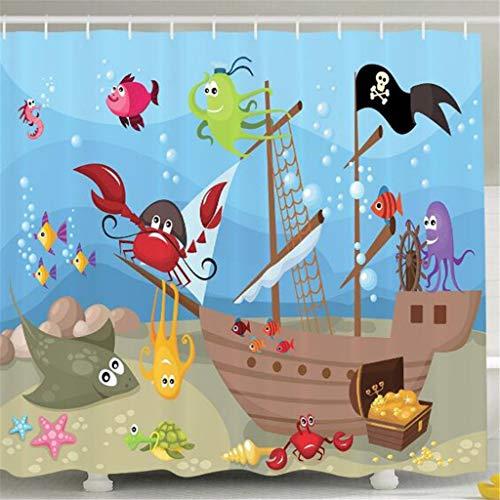 captain_y Kinder Duschvorhang Baby Kinderzimmer Dekor, Ocean Octopus Treasure Versunkene Schiff Piraten Segelboot AHOI, Stoff Duschvorhang Für Jungen Duschvorhänge 180 (B) X 200 (H) cm (Piraten-kinderzimmer Dekor)
