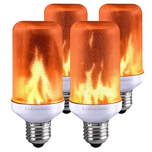 (Lumiereholic Flamme E27 Lampe Flackernde Licht Effekt Feuer Glühbirne Wandleuchte Außenleuchte Flackerlicht für Haus Garten Bar Party Hochzeit Restaurant Valentinstag Deko (4 Stücke))